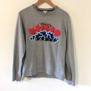 Kenzo Popcorn Cloud Gray Embroidered Sweatshirt-M